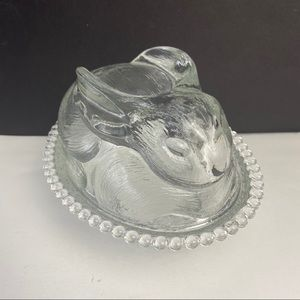Vintage Indiana Glass Clear Rabbit On A Nest